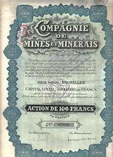 Belgium 1926 Compagnie de Mines Minerais Mining 100 fr coupons uncancelled Deco