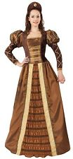 Ladies Bronze Long Full Length Medieval Queen Fancy Dress Costume Outfit 10-14