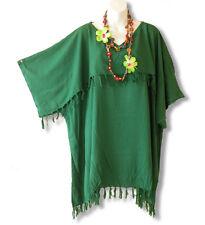 Green Solid Kimono Plus Size Caftan Kaftan Tunic Blouse Top - 2X, 3X, 4X & 5X