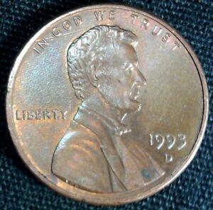 1993 D Lincoln Cent, Die Crack obverse