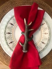 New Pottery Barn Natural Antler Deer Stag Napkin Rings Set Of 4 Rustic Farmhouse