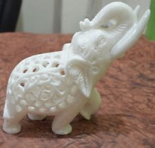 """3"""" White Marble Handmade Elephant Statue Hand Carving Decor Gifts"""