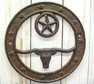 WESTERN DECOR, RUSTIC LONGHORN WALL PLAQUE with STAR, CAST IRON, HOME, RANCH
