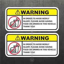 Funny No Food Drink Warning Sticker Set Vinyl Decal JDM Decal Car For Honda Jeep