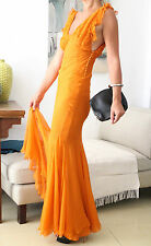 CHRISTIAN DIOR Orange Silk Floaty Maxi Dress F38 UK10