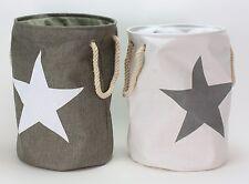 2er Set Wäschesack Wäschebeutel Wäschekorb Vintage Korb Stern Wäschetonne Grau