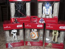2016 LOT 5 Hallmark Disney STAR WARS Christmas Ornaments ~ Darth Vader ~ YODA