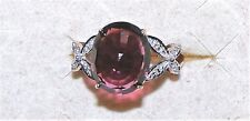 9K Gold Earth Mined Rubelite Tourmaline Zircon Ring 3.43 Grams 6.30 cts Size 8