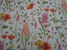 "Sanderson Cortina Tela ~ ""flores de primavera « wine/paprika 5.5 Metros mezcla lino"