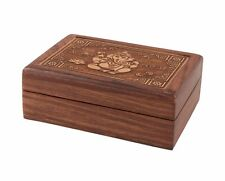 Fairtrade Beautiful Wooden Box with Laser-Cut Ganesha Box Indian Sheesham Wood
