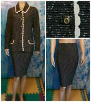 ST. JOHN Collection Knits BLACK Jacket Skirt L 12 14 2pc Suit Cream Trim Buttons