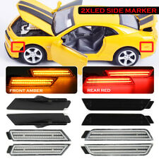 For 2010-2015 Chevy Camaro Signal Light Smoked LED Side Marker Front&Rear
