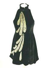 Sass & Bide Black Velvet Gold Sequin Embellished High Neck Sleeveless Dress, XS