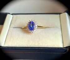 "TANZANITE RING 9K Y GOLD  SIZE Q  ""CERTIFIED AA"" FAB COLOUR! BNWT"