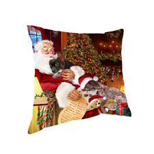 Santa Sleeping with German Shorthaired Pointer Dogs Christmas Pillow 14x14