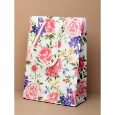NEW 12 White matt finish rose pattern wedding gift bags valentines 20x14x7cm