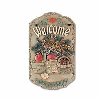 "Welcome Sign, ""Baskets"" Porch Decor, Resin Slate Plaque, Tan Mini"