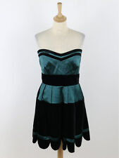 BNWT Karen Millen Women Emerald Velvet Striped Dress DD131 Size 16