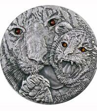 2013 TIGERS WILDLIFE FAMILY SILVER 1 OZ COIN  SWAROVSKI CRYSTAL EYES