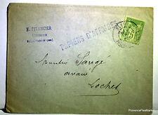 Sage  sur lettre oblitération BLERE LOCHES    -  201ca110