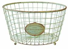 Rustic Large Metal Wire Basket Soft Green Vintage Pale Distressed Exc QUALITY !