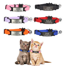 Engraving Cat Collar Safety Small Dog Cute Nylon Adjustable Kittens Necklace