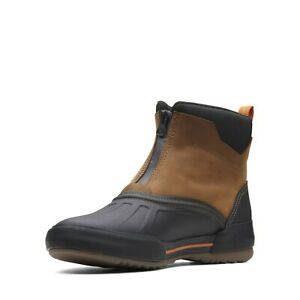 9,Clarks Mens Bowman Zip Dark Tan Leather Ankle Boots UK 12 G