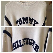 Vintage Rare 1990's Tommy Hilfiger Two Sided Sewn Spellout Cream Sweater XL