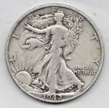 1942 S Walking Liberty Half Dollar in VERY GOOD condition L49