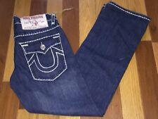 True Religion Billy Super T Dark Wash Relaxed Fit White Stitching Jeans sz 33X34
