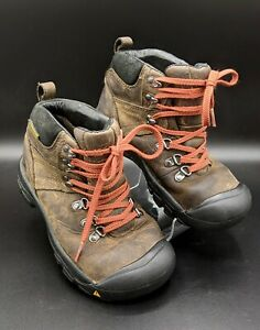 KEEN Kids PYRENEES Brown Leather Hiking Boots Youth Boys Girls Size 3