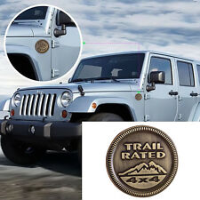3D Trail Rated Bronze Metal Emblem Decal Badge Logo Sticker For Jeep Wrangler