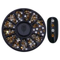 3mm Gold Flower Rhinestone Round 3D Nail Art Decoration in Wheel Nail Art Decors
