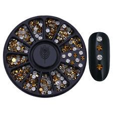 3mm Gold Flower Rhinestone Round 3d Nail Art Decoration in Wheel