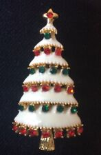 Gold Background With Red And Green Coloured Crystal Christmas Tree Brooch