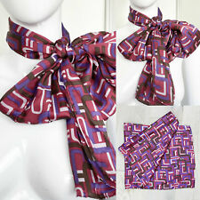 Vtg 1960s 1970s Purple Pink and Brown Abstract Op Art Print Silk Satin Scarf