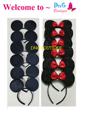 10 PCS MICKEY MOUSE BLACK a & RED SEQUIN EAR HEADBANDS BOW PARTY FAVORS COSTUME