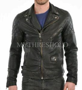 New Men's Motorcycle Brando Style Biker Real Leather Jacket