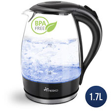 TRESKO Wasserkocher Glas 1,7L Glaswasserkocher LED Edelstahl 2200W Teekocher BPA