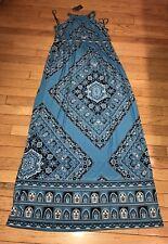 INC Womens Blue Paisley Bandana Sleeveless Jersey Long Maxi Dress Size M NWT