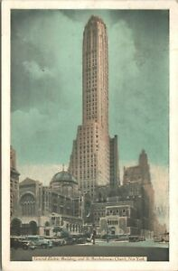 General Electric Building St Bartholomews Church New York 1941 Postcard - Posted