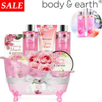 8Pcs Spa Bath Gift Baskets for Mom - Cherry Blossom & Jasmine Mother's Day Gift
