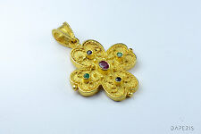 Rubies, Emeralds, Sapphires CZ Cross 925 Sterling Silver Byzantine Etruscan