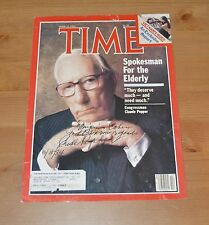 Florida Congressman Claude Pepper autographed Time Magazine cover Elderly 1984