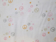 PEACE SYMBOLS STARS PASTELS WHITE FLANNEL FABRIC OOP FQ