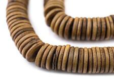 Brown Bone Button Beads 14mm Nepal Disk Large Hole 24 Inch Strand