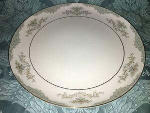 "MIKASA Minuet 209 Japan china platter round 12"" elegant blue scroll fan flowers"