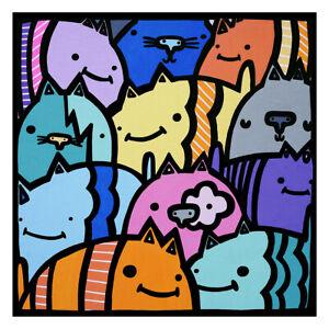 Kev Munday - Happy Cats vibrant colourful art fun print poster signed ltd bright