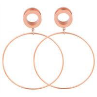 1 Pair Stainless Steel Dangle Flesh Tunnels Ear Gauges Plugs Earrings Piercing