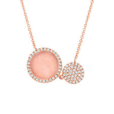 0.76CT 14K Rose Gold Natural Pave Diamond And Pink Opal Circle Pendant Necklace